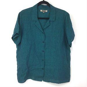 Flax 100% Linen Blue Short Sleeve Button Down Top